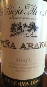 La Rioja Alta Vina Arena 1994