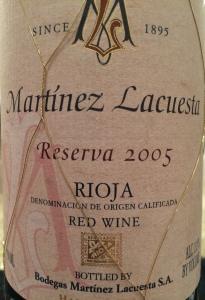 Martinez Lacuesta 2005 Reserva
