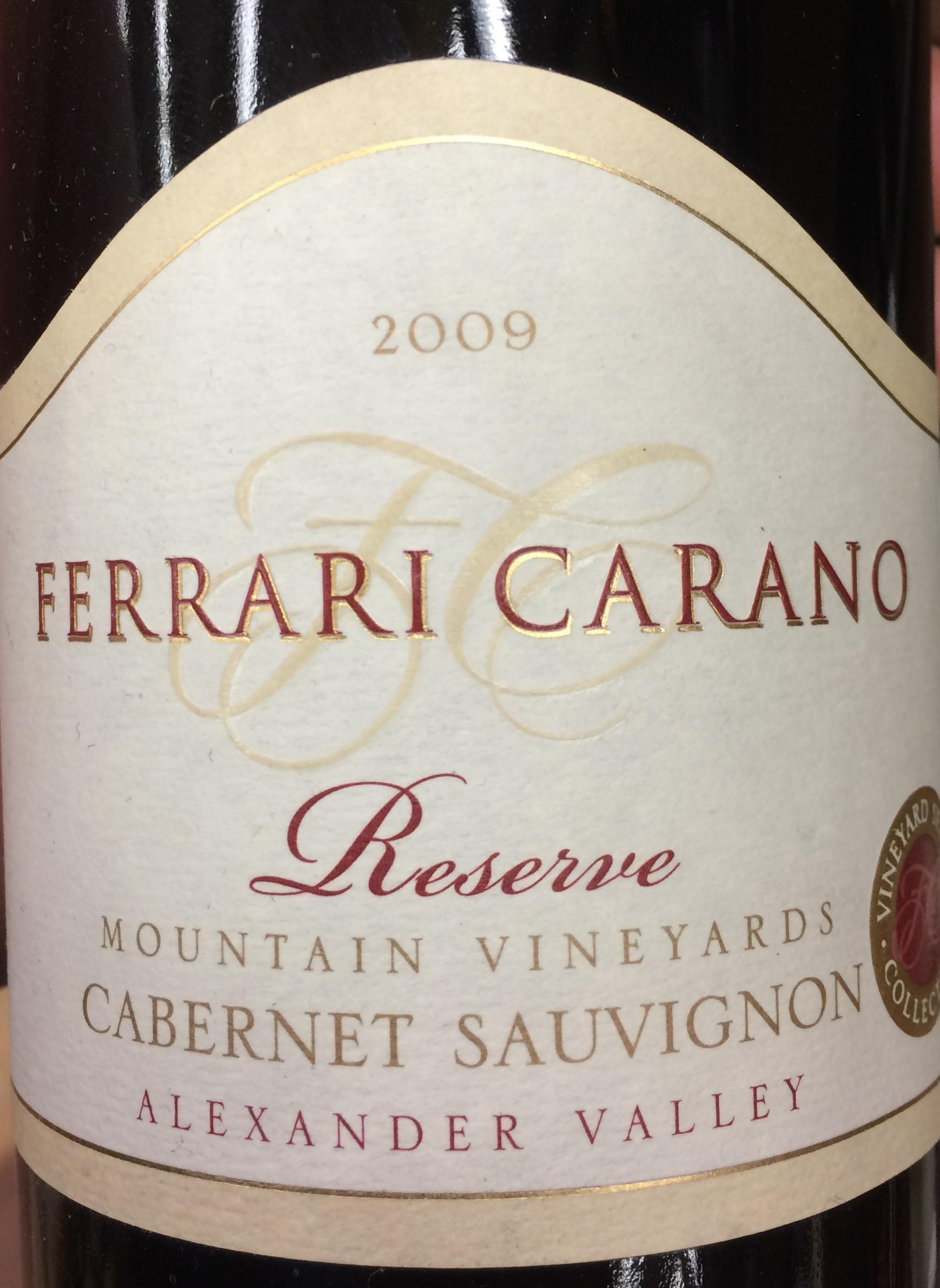 Ferrari Carano 2009 Reserve Cab. Ferrari Carano 2009 Mountain Vineyards  Reserve Cabernet Sauvignon