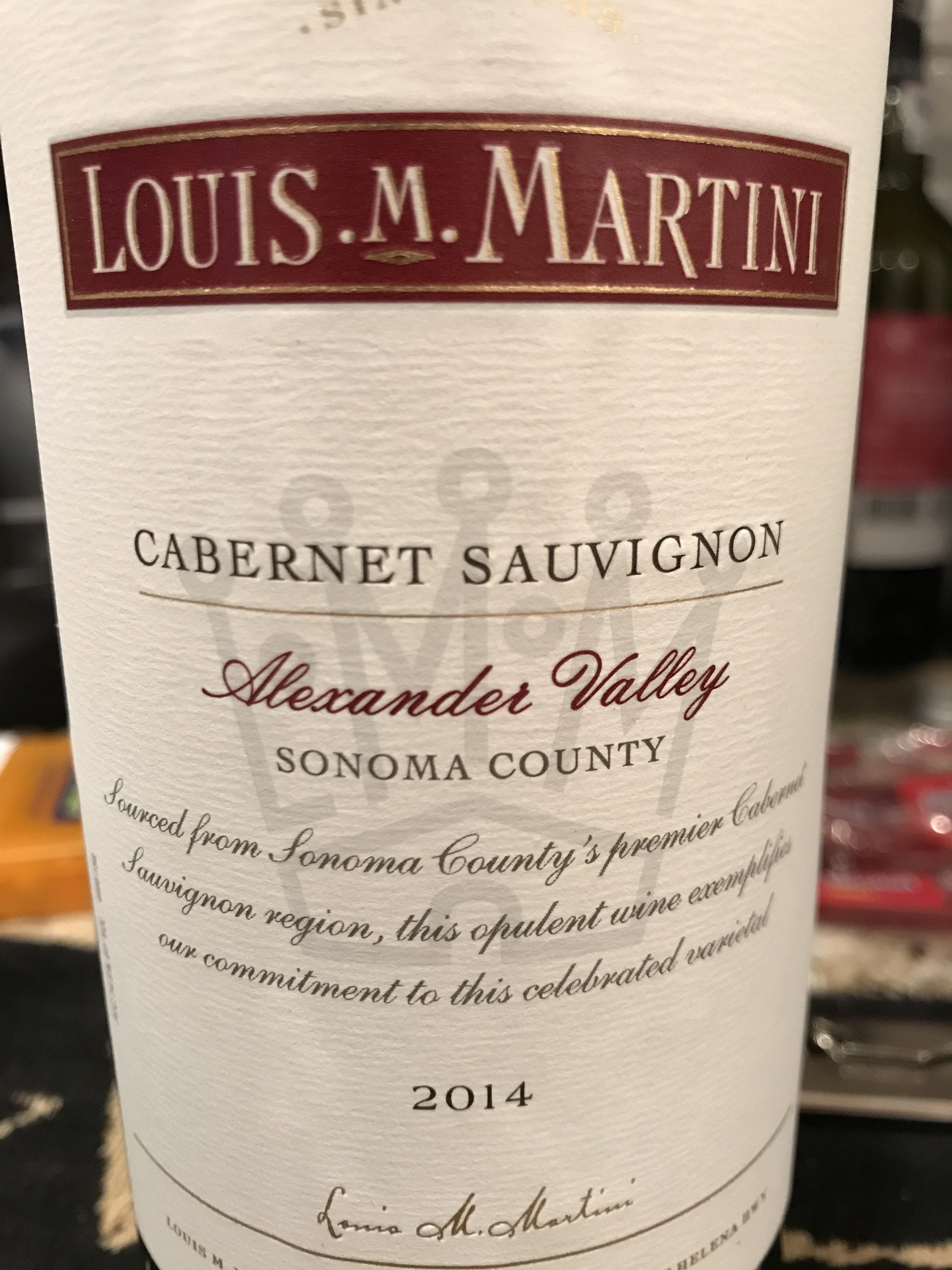 Louis M. Martini Cabernet Sauvignon Alexander Valley 2014